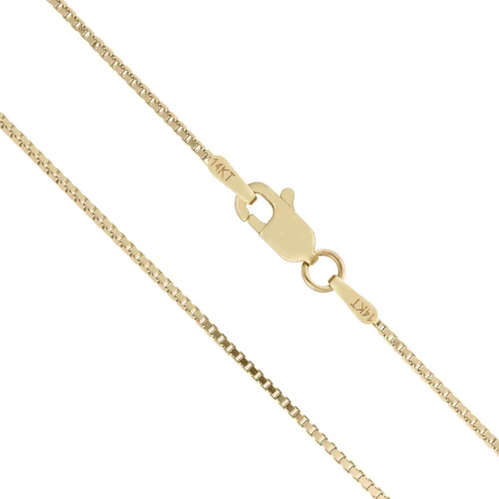 14K Solid Yellow Gold 1mm Box Chain Necklace - 18 Inches