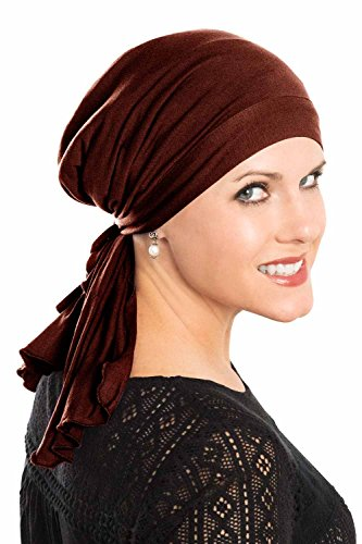 - Cardani So Simple Scarf - Pre Tied Head Scarf for Women in Soft Bamboo - Cancer & Chemo Patients Luxury Bamboo - Chocolate