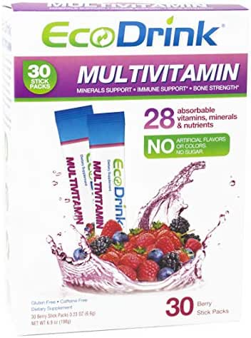 EcoDrink Complete Multivitamin Mix Drink. Berry Flavor - 30 Count Refill Pack (Bottle not included)