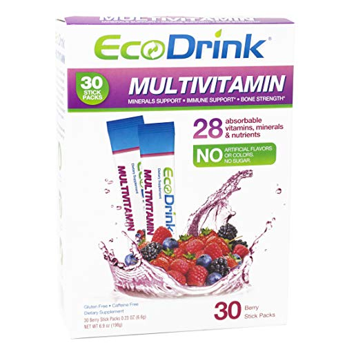 EcoDrink Complete Multivitamin Mix Drink. Berry Flavor – 30 Count Refill Pack Bottle not included