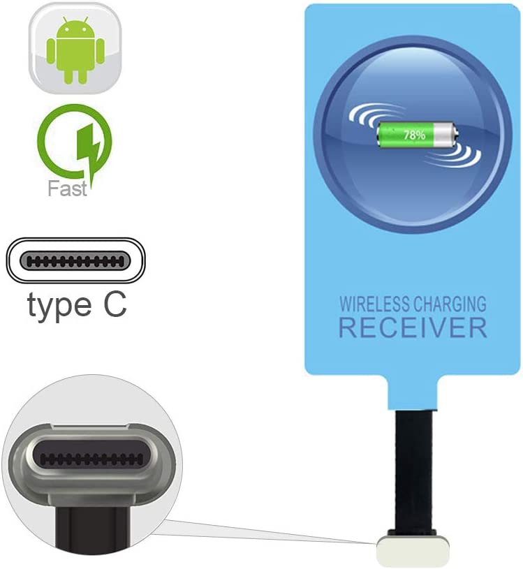IVY QI Wireless Charging Receiver Adapter with Fast&Smart Microchip Technology for Samsung Galaxy A20/A30s/A40/A50s/A60/A70/A80/A90 5G/M20/M30s/M40/Moto Z4 G7 One/LG Q70 Stylo5 Micro USB Type-C
