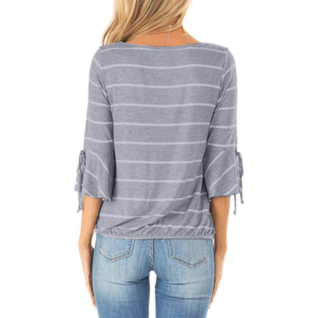 LONGDAY Women Casual T-Shirt Wrap V-Neck Flare Sleeve Shirt Summer Loose Blouse Striped Top Tunic Ladies Pullover Basic Gray by LONGDAY-Women Tops (Image #3)