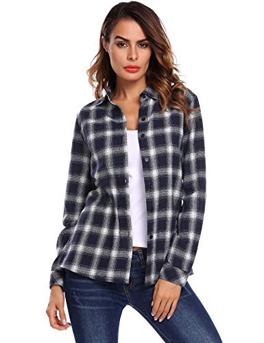 BeyoveWomen's Flannel Check Plaid Long Sleeve Buffalo Pocket Shirts Casual Boyfriend Top Tartan Blouse Navy Blue L (Navy Plaid Flannel)