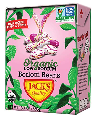 Jack's Organic Beans - Borlotti (7 Options) 13.4oz, 8 Pack, Ready-to-Eat, Non GMO, Low Sodium, 100% Sustainable Packaging, Easy Open, BPA Free