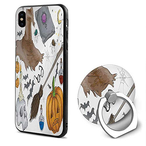 Halloween iPhone x Cases,Magic Spells Witch Craft Objects Doodle Style Illustration Grunge Design Skull Multicolor,Design Mobile Phone Shell Ring Bracket ()
