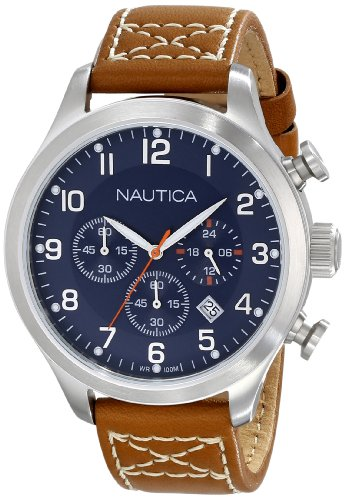 (Nautica Men's N14699G BFD 101 Chrono Classic Stainless Steel Watch with Brown Band)