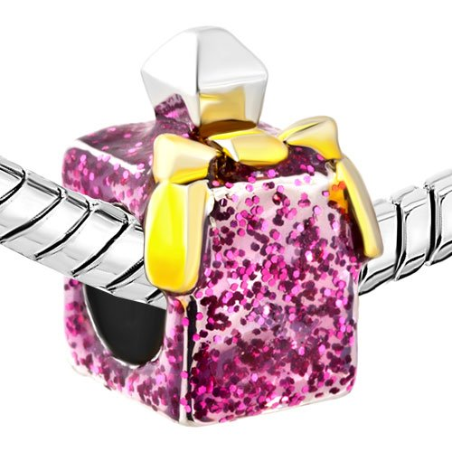 Pugster Rose Pink Crystal Perfume Bottle Fashion American Girl Charm Bead