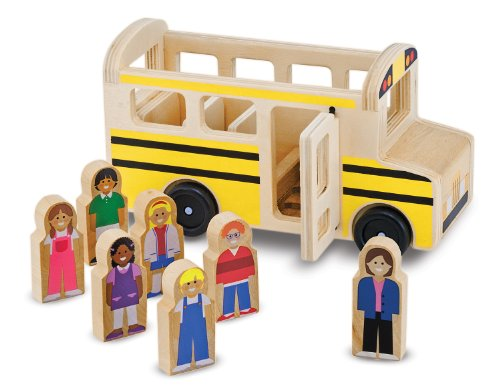 Melissa & Doug School Bus Wooden Play Set With 7 Play Figures Doug Stop Sign