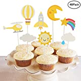 Finduat [48 Pack] Sun Moon Cloud Rainbow Airplane Rocket Hot Air Balloon Cupcake Topper For Kids Birthday Party Baby Shower Cake Decorative (48 Pack)