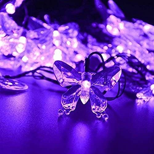 WONFAST Solar String Lights, Waterproof 16ft 20LED Butterfly Christmas Fairy Lights Decorative Lighting for Home Party Wedding Patio Garden Porch Balcony Purple