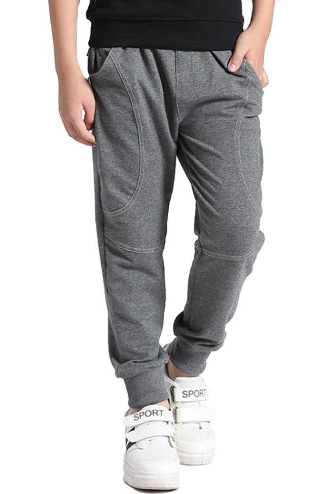 Mallimoda Boy's Knit Cotton Sweatpants Casual Sport Drawstring Waist Trousers Style 4 Grey 11-12 Years