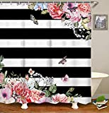 Black White and Pink Shower Curtain LIVILAN Black White Stripes Shower Curtain Set with 12 Hooks Fabric Bath Curtains Pink Flowers Decorative Thick Bathroom Curtain 70.8