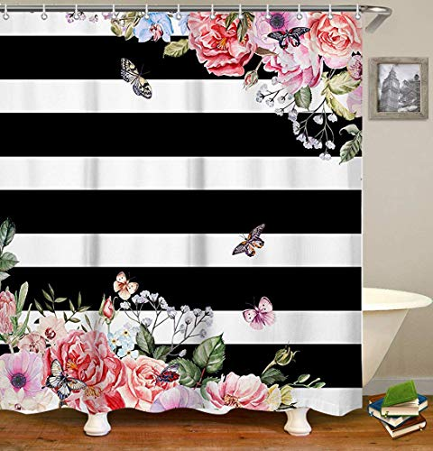 LIVILAN Black White Stripes Shower Curtain Set with 12 Hooks Fabric Bath Curtains Pink Flowers Decorative Thick Bathroom Curtain 70.8