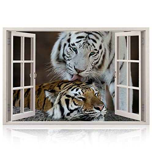 Realistic Window Wall Decal – Peel and Stick Nautical Decor for Living Room, Bedroom, Office, Playroom – Animal Wall Murals Removable Window Frame Style Wall Art – Vinyl Poster Wall Tiger Stickers