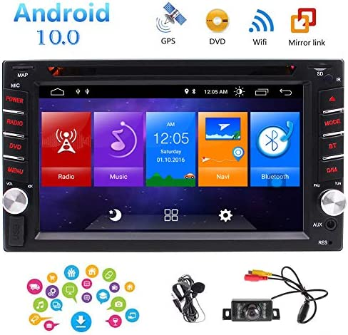 Android 10.0 Car Stereo Double Din GPS Navigation Head Unit in Dash Capacitive Touchscreen Car DVD Player Support FM AM RDS Autoradio Bluetooth SWC USB SD WiFi Mirrorlink 1080P Video Backup Cam