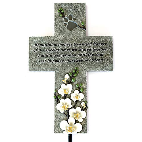 (Orchid Valley Dog or Cat Memorial Cross Grave Marker or Headstone for The Garden or Yard. Pet Loss Remembrance Gift)
