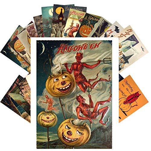 Vintage Halloween Card (Postcard Set 24 cards SCARY HALLOWEEN Vintage Postcards Horror Zombie Ghost Witch Evil)