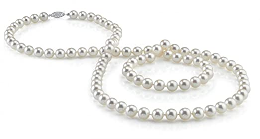 14K Gold 5.0-5.5mm White Freshwater Cultured Pearl Necklace - AAAA Quality, 16 Inch Choker Length