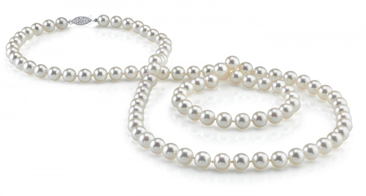 7-8mm Round White Freshwater Cultured Pearl Necklace, 36'' Opera Length - AAA Quality