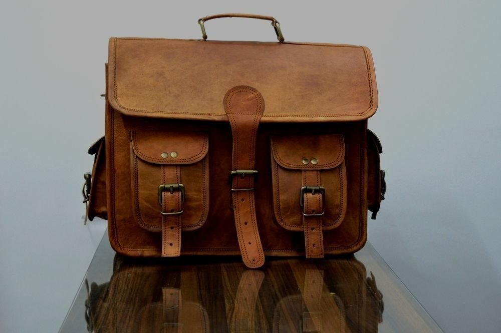Leather Native 2 Side Pouch Brown Leather Motorcycle Side Pouch Saddlebags Saddle Bag Panniers ( 2 BAGS )