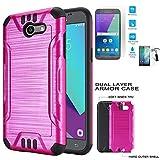 Cheap Phone Case Straight Talk Samsung Galaxy J7-Sky-Pro/Verizon Samsung Galaxy J7 V / J7-Perx Tempered Glass Dual-Layered Cover (Combat Brush Pink-Black TPU/Tempered Glass)