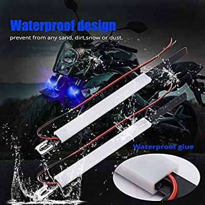 Motorcycle Fork Turn Signal Universal LED Lights 30 3014-SMD Chips Waterproof LED Indicator DRL LED Strip Lights for Davidson Harley Yamaha Victory Honda .Blue.2-Pack.: Automotive