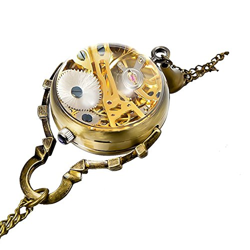 Carrie Hughes Ladies Retro Steampunk Glass Ball Transparent Skeleton Mechanical Pocket Watch with Chain CH199