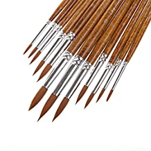 LANIAKEA® Round Paint Brushes, 12 Painting Brush set, Wood Pen, Varity of Sizes, Wooden Tan Soft-Touch Pen, Professional Designed for Watercolor, Oil, Acrylic, Crafts, Rock, Face Painting, Nail Painting