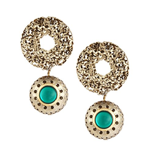 (Abhika Creations Antique Mesh Dome Earrings, Green Stone Studs, Dangling Antique Earrings, Traditional Indian Studs, Bollywood Style Earrings)