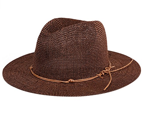 Aieoe Women Crocheted Handmade Straw Hat Beach Sun Hats for Holiday Travel - Dark Brown
