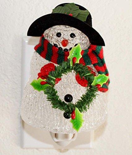 Snowman Night Light Lamp Candle Nightlight Rotating W On/Off Switch Home Decor Birthday Housewarming Congratulatory Blessing Gift US Seller (Snowman -CB02)