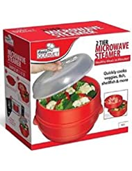 Handy Gourmet Jb6216 2 Tier Microwave Steamer, Red
