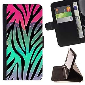 TEAL PINK PURPLE ZEBRA HEART PATTERN/ Personalizada del estilo del dise???¡Ào de la PU Caso de encargo del cuero del tir????n del soporte d - Cao - For Samsung Galaxy S6 EDGE
