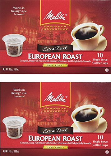 Melitta Single Cup Coffee for K-Cup Brewers, 10 Count (Pack of 2) (European Roast)