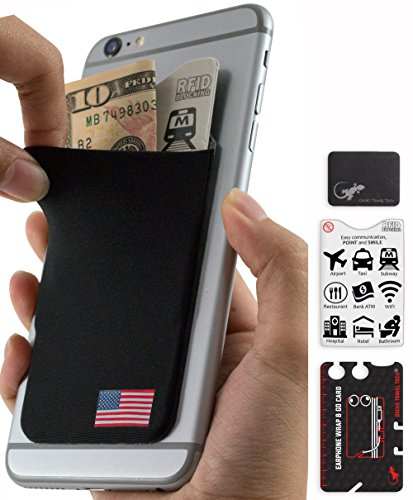 Phone Wallet - Adhesive Card Holder - Cell Phone Pouch - Stick on Lycra Pocket by Gecko - Carry Credit Cards and Cash - RFID Protection Sleeve – USA Flag by Gecko Travel Tech