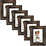 Langdons 5x7 Picture Frame Set (6-Pack, Barnwood Brown) Solid Wood Photo Picture Frames 5x7, Wall Hanging or Table Top, Display Picture Frame 5x7 Vertically or 7x5 Horizontally, Lumina Series