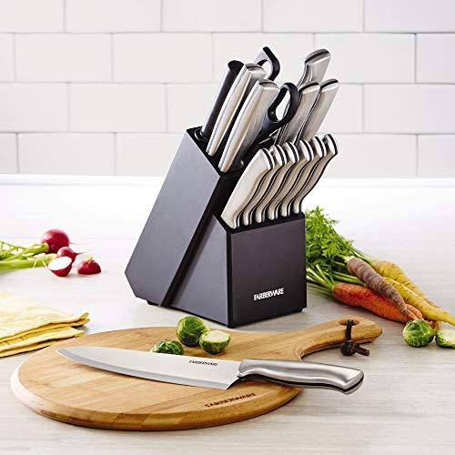 Farberware-Stamped-15-Piece-High-Carbon-Stainless-Steel-Knife-Block-Set-Steak-Knives
