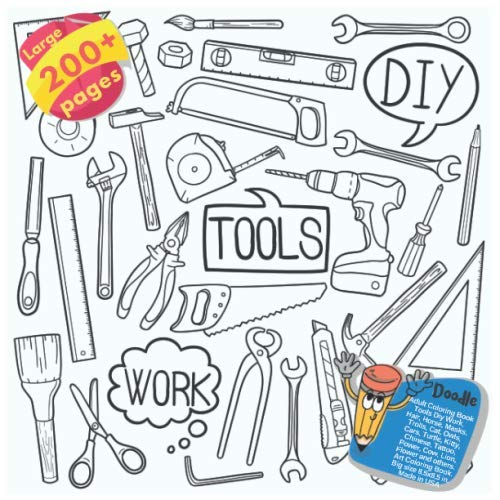 Adult Coloring Book Tools Diy Work, Hair, Horse, Masks, Trolls, Cat, Owls, Cars, Turtle, Kitty, Chinese, Tattoo, Power, Cow, Lion, Flower and others. ... Book Tools Diy Work and others Doodle)