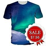 Goodstoworld Men's Novelty Space Planet Aurora Adult Cosmos T-Shirt Short Sleeve Tops Tees