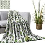 PrimoMol Flannel Throw Blanket Cactus,Hand Drawn Foliage Pattern with Ornamental Pottery Design Sketch