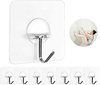 8 Pack Wall Hooks, Transparent Reusable Seamless Hooks 13lb Max, Waterproof and Oilproof for Bathroom Kitchen Heavy Duty Self Adhesive