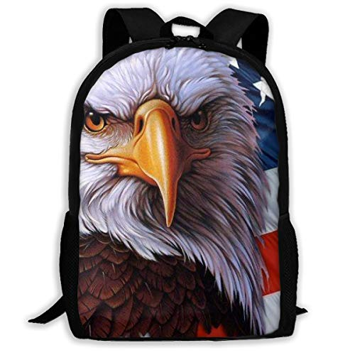 Adult Casual Backpack School Bags Oxford Laptop Backpack Unisex American Flag Eagle Travel Daypack