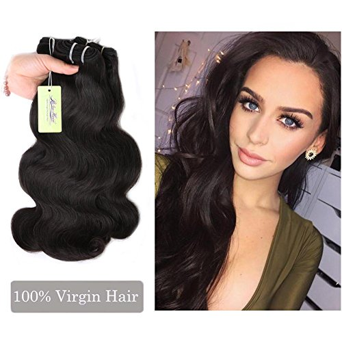 Sew in Hair Bundles, Re4U Indian Body Wavy Virgin Human Hair Bundles Unprocessed Tangle Free Weave Extensions Double Weft (Natural Color 18
