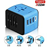 Eeuropean Outlet Converter, Kokome International Adapter and Converter Worldwide Universal Travel Adapter with 3 High Speed 2.4A USB Port and 1 Type-c Port for Europe, UK, US, AU, ASIA