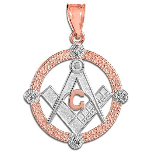 Petits Merveilles D'amour - Pendentif - 10 ct 471/1000 tonnes Deux en or rose diamant Rete Franc Maçon