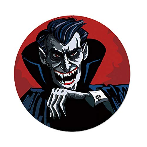 iPrint Polyester Round Tablecloth,Vampire,Cartoon Cruel Old Man with Cape Sharp Teeth Evil Creepy Smile Halloween Theme,Blue Red Grey,Dining Room Kitchen Picnic Table Cloth Cover,for Outdoor Indoor