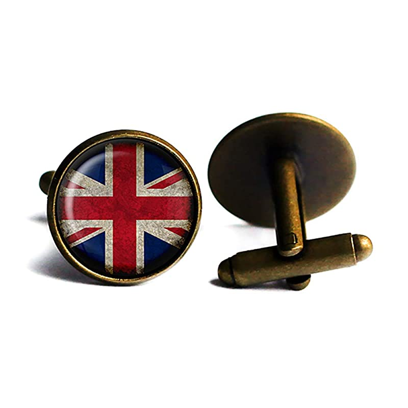 hand made Gift for Him - Cufflinks Union Jack vintage style Gothic- Steampunk UK Flag
