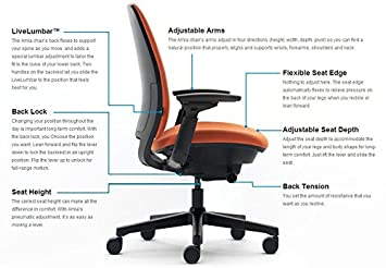 Steelcase Amia Task Chair Platinum Frame Base – 4 Way Adjustable Arms – Standard Carpet Casters