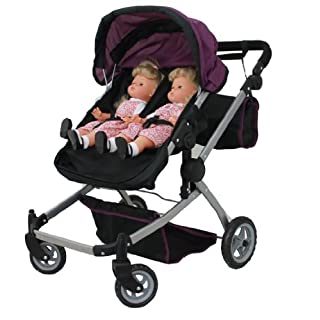 Mommy & Me Babyboo Twin Doll Stroller Foldable Deluxe Double Doll Pram with Swiveling Wheels, Convertible Seat, Basket, and Free Carriage Bag, Purple and Black (Multi Function View All Photos) 9651A