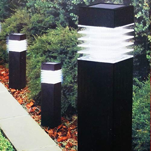Solar Lights Outdoor Pathway 3Pack Bollard Stake Light Set Decorative Garden Stakes Waterproof Bright White LED Landscape Lighting Driveway Bollards Decorations For Walkway Outside Yard Black (Driveway Markers Outdoor Lighting)